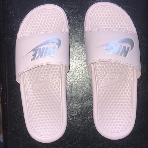 nike shoes light pink slides poshmark